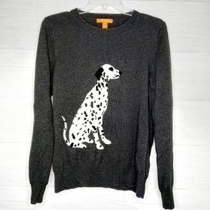Joe Fresh Dog Dalmatian print grey wool sweater M